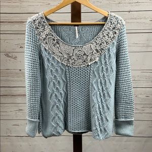 Free People Light Blue Knit Sweater
